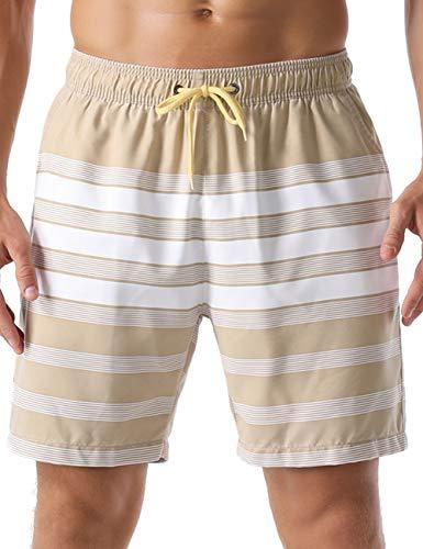 Nonwe Men's Beachwear Striped Summer Vacation Loose Sports Swim Trunks Khaki 36