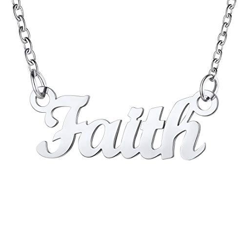 U7 Faith Collares Nombres para Mujer Joven Material Acero Inoxidable Tono Plata Colgantes Personalizables de Madres Hijas
