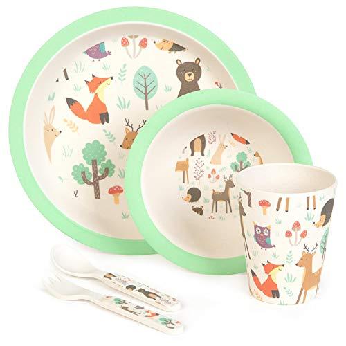boppi 5-teiliges Bambus-Geschirr- und Besteck-Set für Kinder mit spülmaschinenfestem und BPA-freiem runden Teller, Obst, Müslischale, Saft, Becher, Gabel und Löffel – Waldtiere