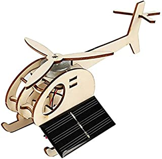 Wooden Helicopter Puzzle Toy for Kids - Educational - Solar Powered - Building Robotics Science Stem Kit - It Actually Moves