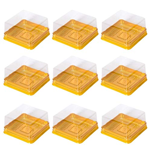 Cabilock - Cajas de plástico cuadradas para cupcakes, 50 unidades, color dorado