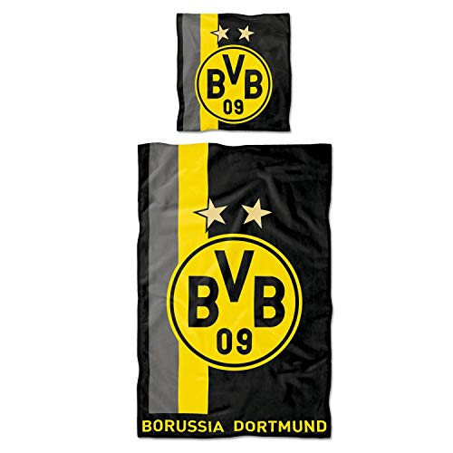 Borussia Dortmund Bettwäsche Streifenmuster 2-teilig (Kissen & Decke) mit Reißverschluss BVB - Plus Lesezeichen I Love Dortmund