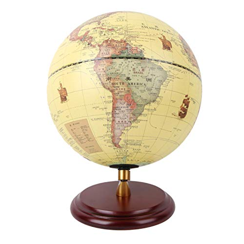 FOLOSAFENAR 25CM con Fondo de Mapa clásico Globo 3D Globo pequeño Restauración de Alta precisión con adopción práctica, para decoración de Escritorio Juguete Educativo(25cm Antique with Light)