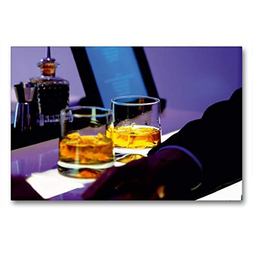 CALVENDO Premium Textil-Leinwand 90 x 60 cm Quer-Format Cool Atmosphere - Whisky Gläser auf Bartheke, Leinwanddruck von Renate Bleicher