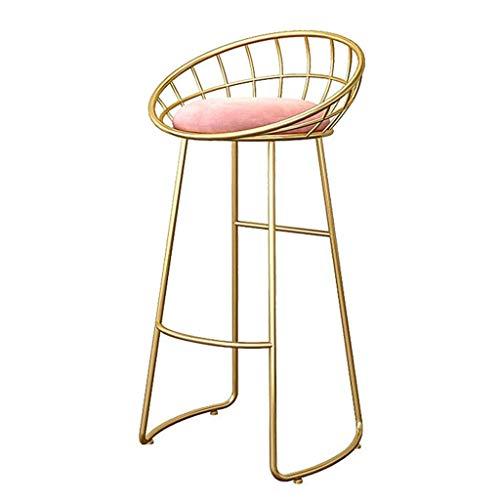 Barhocker Goldener Fußhocker mit Rückenlehne als Küchen- / Barhocker |Rosa Samtkissen |Laden Sie bis zu 150 Kg Küche |Bar |Stange (Höhe: 45/65 / 75cm)