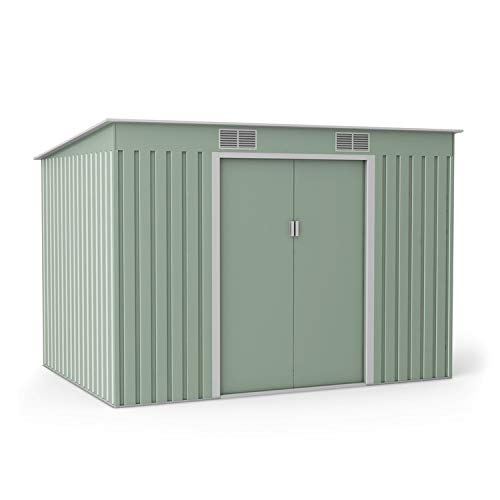 BillyOh Cargo Pent Metal Shed with Foundation Kit, Hot-Dipped Galvanised Metal Garden Storage (9x6)