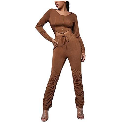 Pistaz Traje de deporte para mujer, monocolor, cuello redondo, manga larga, cremallera superior + pantalones elásticos, traje de pijama, café, M