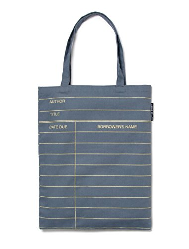Out of Print Library Card Tote Bag Grey, 14 X 18 Inches