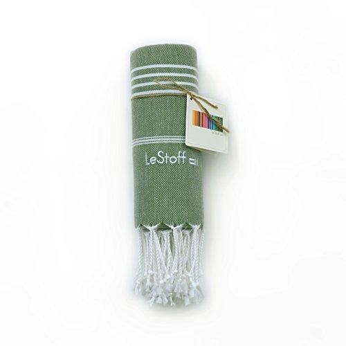 LeStoff Telo Mare Fouta Telo da Bagno XXL 100% Cotone di Alta qualità Asciugamano Turco Hammam Super Assorbenza Asciugatura Rapida Ecologico 100 x 180 cm Olive
