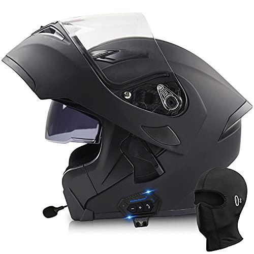 BDTOT Bluetooth Integrado Modular Casco Moto Integral con un Micrófono Incorporado Anti Niebla Visera Doble ECE/Dot Homologado Forro Extraíble Carcasa de ABS Unisex Capota de Sol Gratis