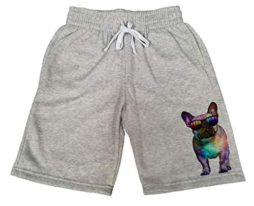 Men's Galaxy Rave French Bulldog B676 Gray Fleece Jogger Sweatpants Gym Shorts Medium