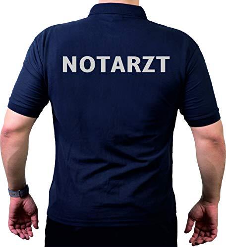 FEUER1 Poloshirt Navy, Notarzt in Silber XXL