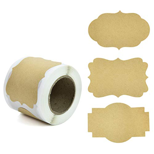 Timoo 150 Pcs Label Stickers, 2' x 3'Self-Adhesive Kraft Paper Labels for Jars, Christmas Gift, Name Tags, Candle Can, Mason Jars & More (3 Style)
