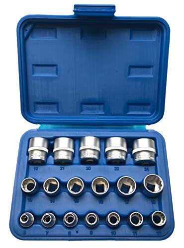 """Steckschlüsseleinsätze 12-KANT/Zwölfkant 3/8"""" Schraubenschlüssel-Einsatz Stecknüsse Vielzahn (Doppel-Sechskant/Doppel-6-kant) Nuss 6-24 mm Stecknuss Satz - Chrom-Vanadium-Stahl - 18 tlg."""