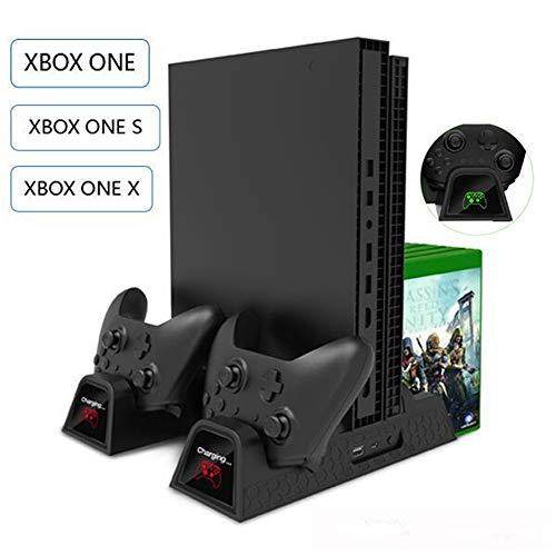 Supporto Verticale Di Raffreddamento - Docking Station Di Ricarica Per Controller Xbox One / Xbox One S / Xbox One X Console + 2 Pack Di Alimentazione 600mah + 12 Storage Di Gioco + Cavi Di Ricarica