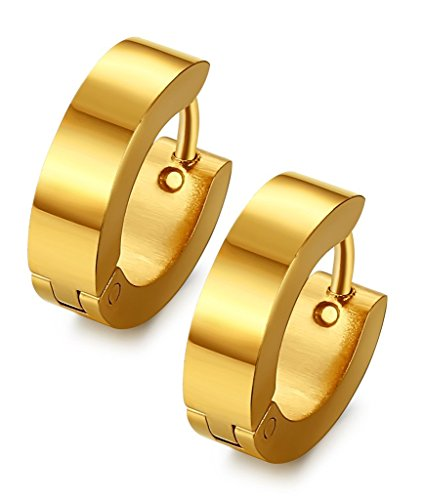 Jstyle Stainless Steel Black Unique Small Hoop Earrings for Men 1 Pairs Huggie Earrings Gold