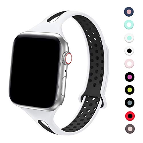 Bagoplus Compatible with Apple Watch Band 38mm 40mm Women and Men, Breathable Soft Silicone Replacement Wristband with Holes Compatible with iWatch Band Series 5/4/3/2/1(white-black)