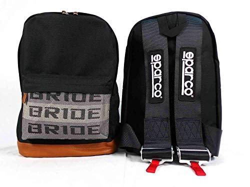JDM Bride Racing Backpack Brown Bottom with Black Harness Straps