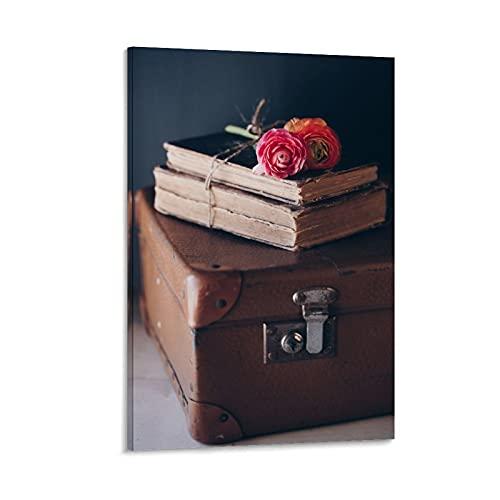 beizi Póster vintage de libros y maleta, pintura decorativa en lienzo para pared, sala de estar, dormitorio, 60 x 90 cm