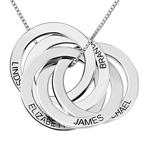 Grancey Russian Ring Necklace with Engraving 5 Names 5 Rings Personalised—Round Circle Disc Necklace Customized for Women Girls