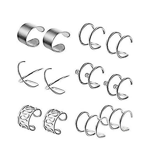 6 pares de orejeras de plata Pendientes de cartílago de hélice Clips de oreja de acero inoxidable Pendientes sin perforación Pendientes de aro Puños de oreja de cartílago