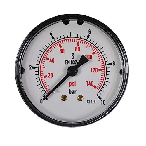 HELO '175330-6' Druckluft Manometer 0-10 bar + psi Messer, 63 mm Ø, 1/4