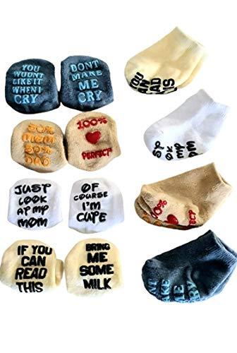 Baby Socks Antirutschsocken 4 Paar Sockenset für 6-12 Monate Babys Jungen Geschenkset Krabbelsocken ABS sehr schönes set für neugeborene Babys schönes Design Angenehm Weich .