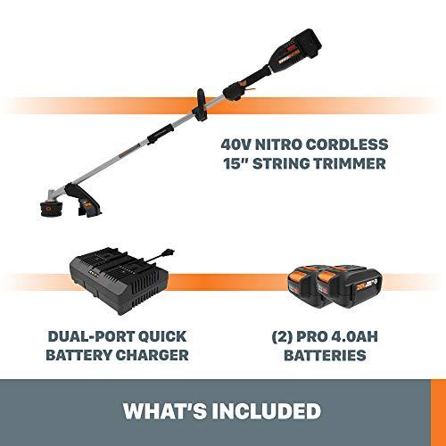 "WORX Nitro WG186 40V Power Share PRO Attachment-Capable Driveshare 15"" Cordless String Trimmer"
