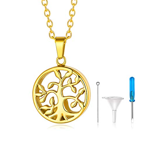 Custom4U Mens Cremation Jewellery Necklace Gold Urn Necklace for Ashes
