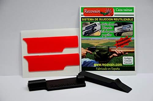RECOVAIN Sistema de Sujeción Reutilizable | Artículos y Accesorios de Caza para Escopetas Semiautomáticas y Rifles | Contiene Placa de Sujeción, Espátula y 2 Adhesivos Especiales