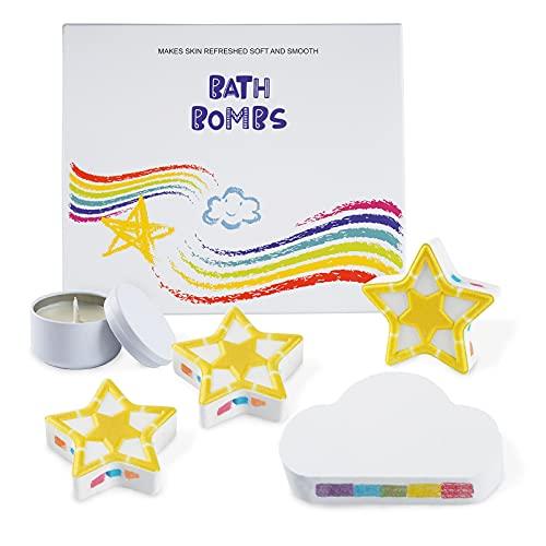 Amazon Brand - Umi Bombas de baño y juegos de velas perfumadas, ideales para baño e hidromasaje, limpiador y humectante para la piel, aromaterapia en el hogar