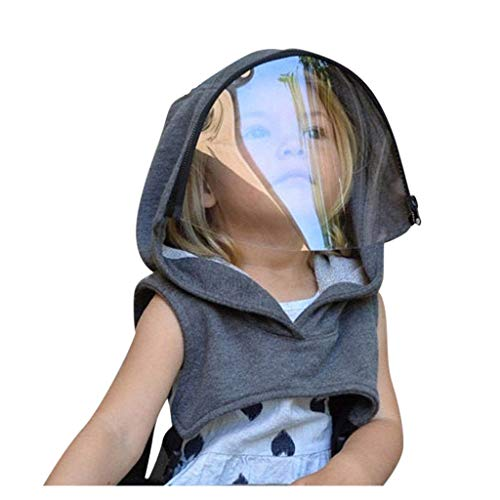 Full Protective Face Wear Clear Hooded Hat Child Face Protective with Eyes Shield Reusable Removable Face Bandanas (Gray)
