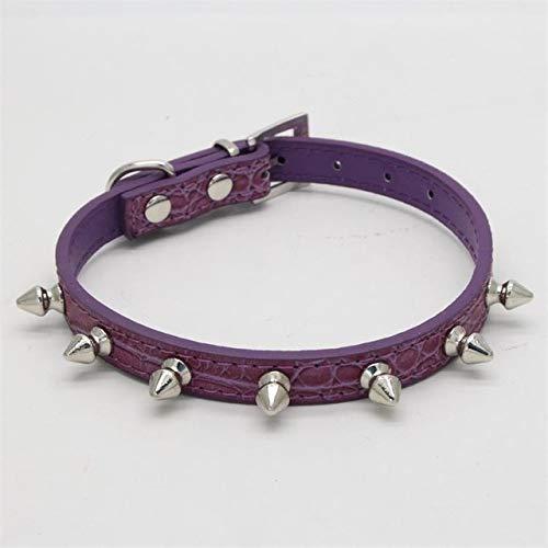 Haustier Rivet Anti-bite-Halsband for Hunde und Katzen-Haustier-Zubehör Kragen, Größe: L (Color : Purple)