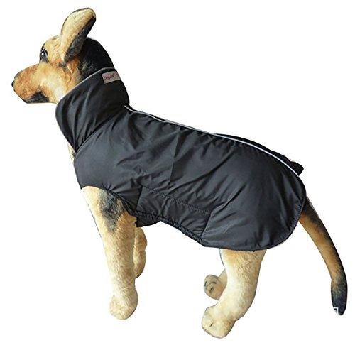 Hugooo Wasserdichte Hundemantel Jacke, Gefüttert Fleece Wärmere Kleidung für Sehr Große Hunde Raincoat Leichtbau mit Bauchschutz XXXL - Schwarz Große 57CM Lange