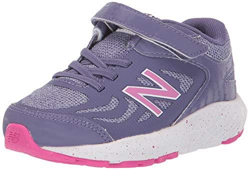 New Balance Girls' 519v1 Running Shoe, Violet Fluorite/Clear Amethyst/Carnival-Hook and Loop Closure, 2 M US Infant