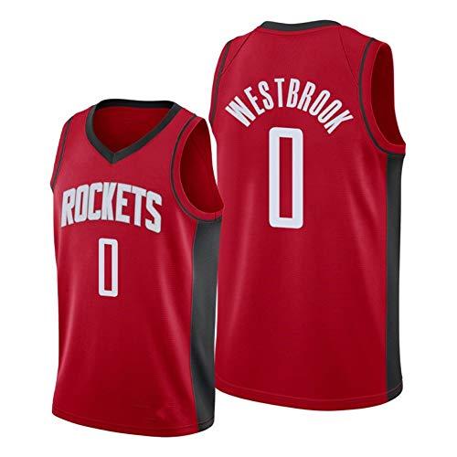 DXG NBA Houston Rockets # 0 Russell Westbrook Abbigliamento Sportivo, Maglia da Basket Unisex Sport all'Aria Aperta Canotta in Mesh Traspirante Comoda,Rosso,S