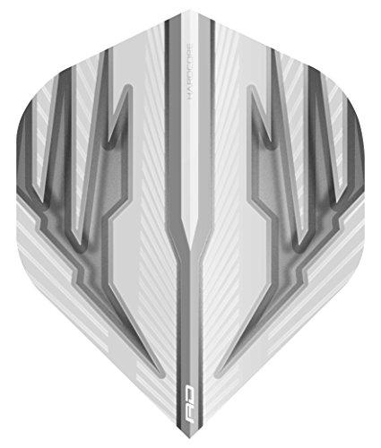 RED DRAGON Hardcore Radical Weiß und Grau Extra Dicke Standard Dart Flights - 4 Sätze pro Packung (12 Flights insgesamt)