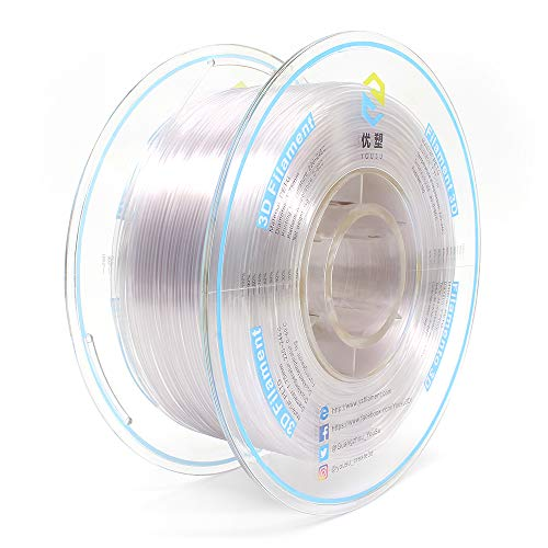 Tangle Free PETG 3D Filament by Yousu, Transparent, 1.75mm 1kg, Better Physical Strength and Layer bonding Performance. Compatible with Most of 3D Printer.