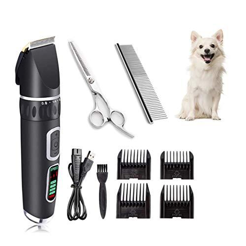 Andiker Cortapelos eléctrico profesional para perro, gato y otros animales, inalámbrico, recargable y silencioso Gromming Clipper con 8 accesorios (negro)
