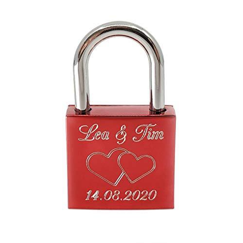 Liebesschloss Rot mit persönlicher Diamant-Gravur ♥ 1 Schlüssel ♥ Gratis Geschenkbeutel ♥ Romantisches Geschenk für Ihn/Sie