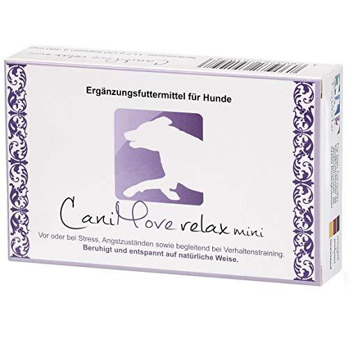 CaniMove relax mini - 30 Kapseln (a 390 mg), Ergänzungsfuttermittel für Hunde zur Beruhigung und Entspannung auf natürliche Weise durch Casein (Casozepin), Tryptophan, L-Theanin, B6 und Inositol.