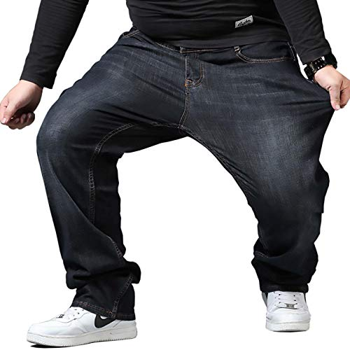 [Make 2 Be] メンズ デニムパンツ 大きいサイズ ストレート 大きいデニム 太め ジーンズ Gパン ワイド JEANS ビックサイズ ゆったり 弱ストレッチ バギーパンツ カーゴパンツ ヒップホップ T01 (29.BLACK_40)
