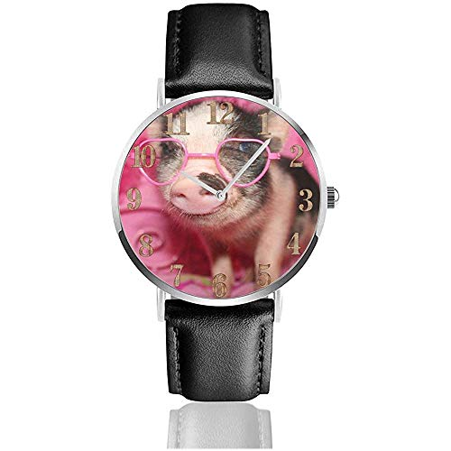 Little Pig Wear Rosa Sonnenbrille Clo Uhren Robuste PU Leder Armbanduhr Life Silence Quartz Watch