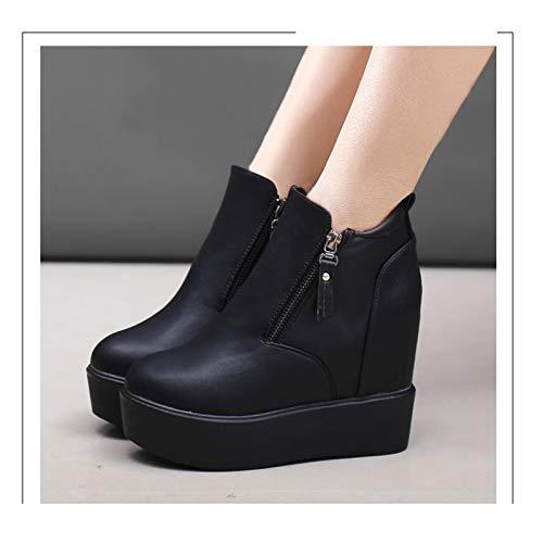 Shukun Laarsjes voor dames, voor de lente en de herfst, met hoge hakken, Martin laarzen, zwart plateau, damesschoenen, winter, dames, laarzen