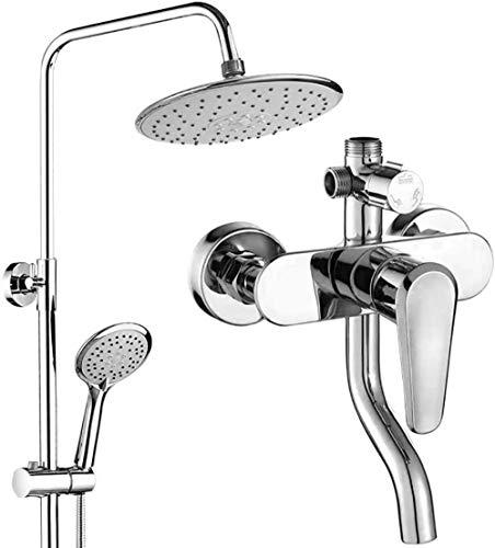 Sistema de ducha de lluvia Juego de ducha de equilibrio de presión Cabezal de ducha de lluvia y barra deslizante ajustable de mano Sistema de ducha de baño