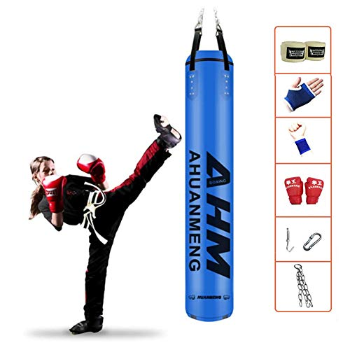 Beroep Kickbokszak, zware bokszakken Hangende bokszak met ketting en wikkels voor volwassenen Professionele en beginners Bokstraining, fitnessapparatuur,Blue,1.8m