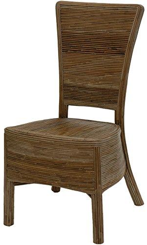 korb.outlet Rattan-Esszimmerstuhl aus unbehandeltem Natur-Material auf Holzrahmen/Küchenstuhl aus echtem Rattan (Natur Grau)