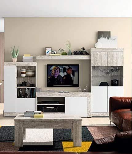 Mobelcenter - Mueble Salón Logan 004 - Blanco y Vintage - 295 x 39,8 x 170,5 cm (0812)