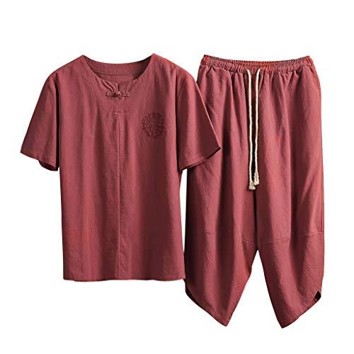 Yowablo Herren Shirt Slim-Fit Sommermode Leinen Kurzarm Kurzhose Anzug Trainingsanzug (XL,2Rot)