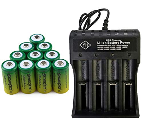 10 PCS 3.7V 1800mAh Li-ion 16340 Battery CR123A Rechargeable Batteries & 1 PCS 4 Slots USB Universal Smart Battery Rechargeable Charger for Alro or LED Flashlight Torch Headlamp